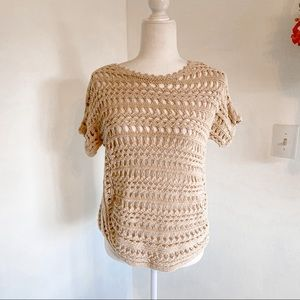 Chico's Cream Tan Knit Crochet Pullover Top